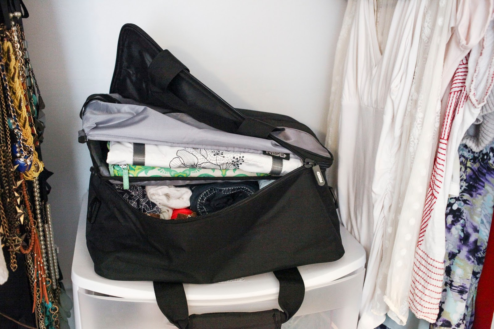 A Jumper bag by RISE Gear packed and folded down