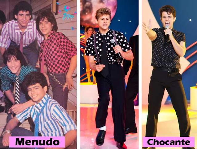 Menudos e Chocante roupas anos 80