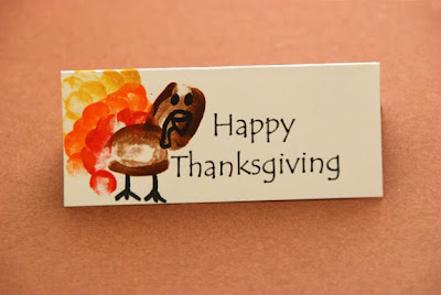 thanksgiving name plates thumb print turkeys