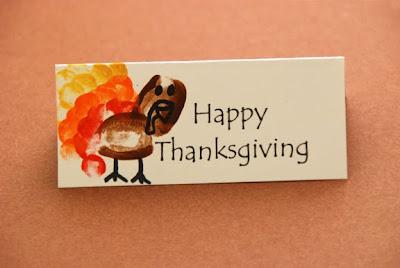 thanksgiving name plates thumb print turkeys