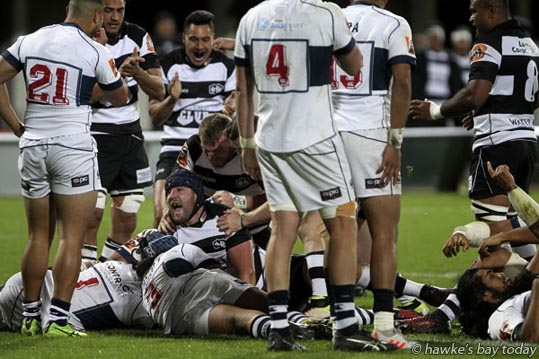 With ball: Mark Abbott, Hawke's Bay Magpies, scored a try - rugby vs Auckland, at McLean Park, Napier. photograph