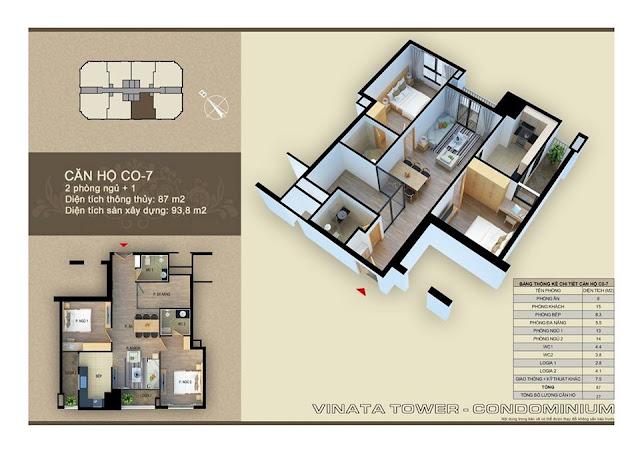 Thiết kế căn hộ C-07 Vinata Towers, DT 87m2, 2PN, 2VS
