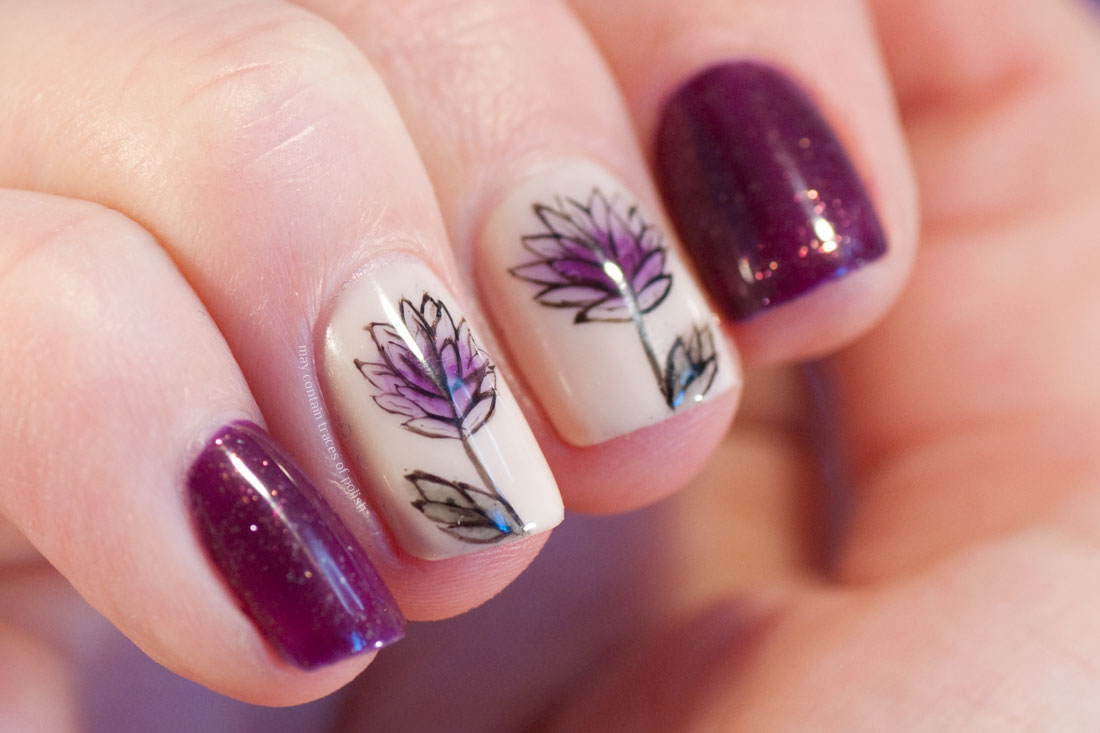 Flower Gel Nail art Madam Glam Merlot manicure