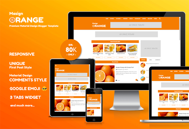 Masign Orange Premium Material Design Blogger Template