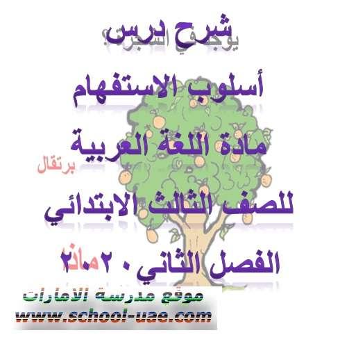 شرح درس اسلوب الاستفهام  لغة عربية للصف الثالث الفصل الثانى 2020- الامارات