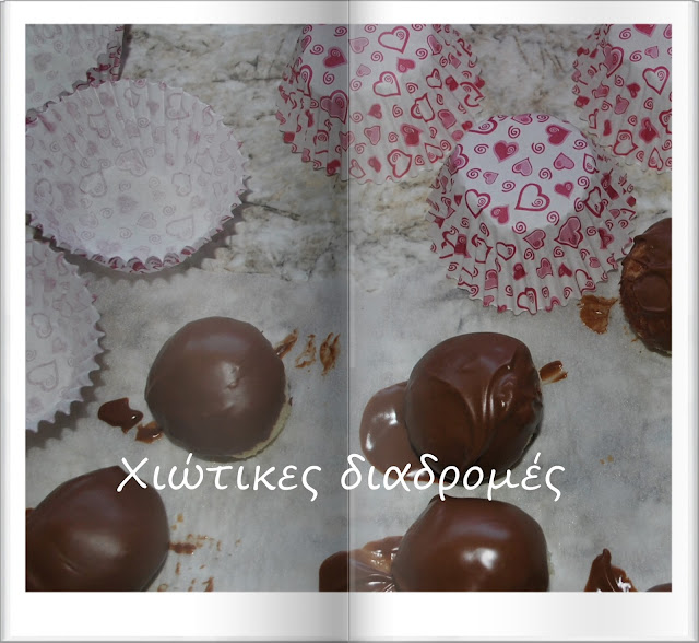 Little sweet balls with coconut and chocolate