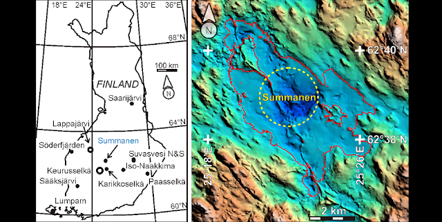 Fig. 1. Left: the location of Summanen impact crater in Finland among the other eleven impact structures. Right: The coastline of Lake Summanen is shown in red. The topographic heights and the lake depths are shown as reliefs: brown depicts topographic hills, green flat terrane and blue deep water, respectively. The crater itself is estimated as broken yellow contour. The impacted rocks have been found in the mainland, towards SE from the centre of the impact. Left side by Jüri Plado; Right side original data modified by JP.