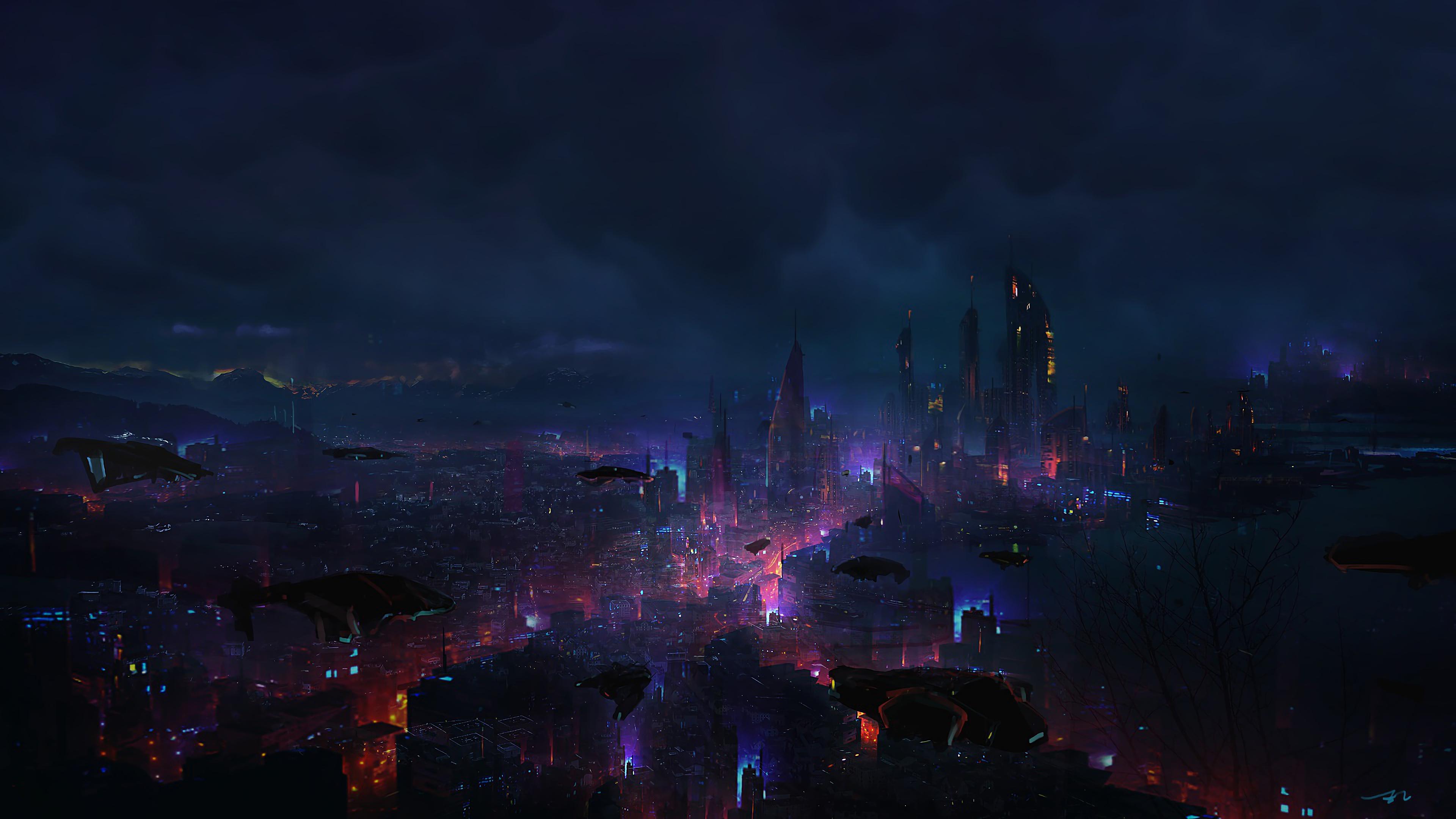 Fall Dual Monitor Wallpaper Cyberpunk City Night Scenery Sci Fi 4k 94 Wallpaper