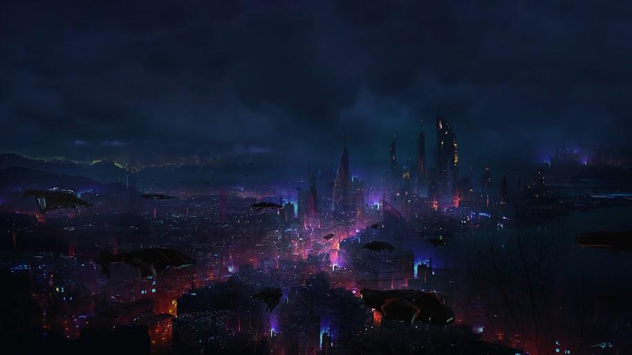Cyberpunk, City, Night, Scenery, Sci-Fi, 4K, #94