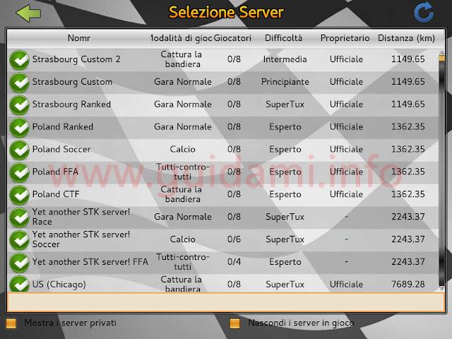 SuperTuxKart schermata Selezione Server