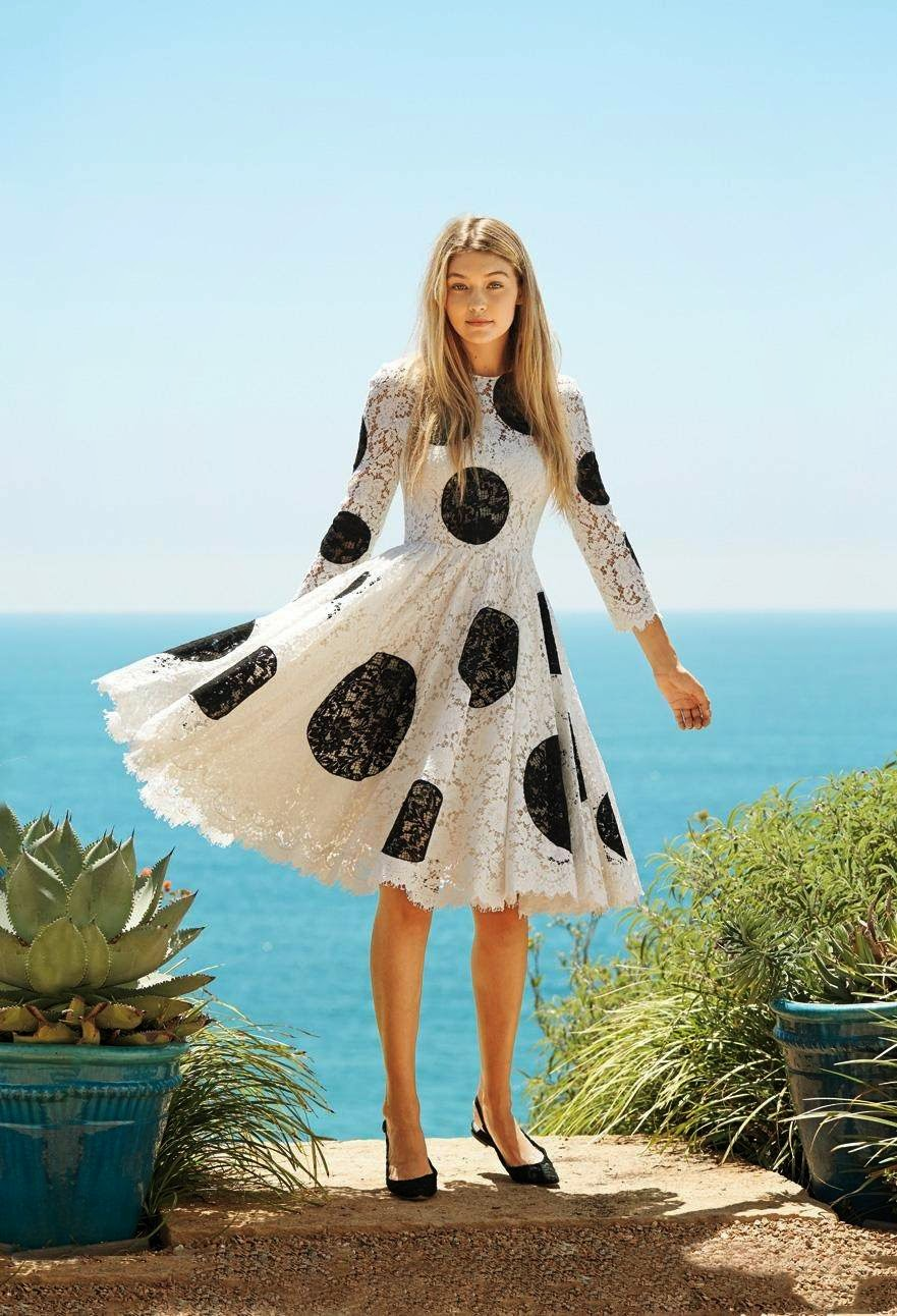 Black and white polka dot lace dress