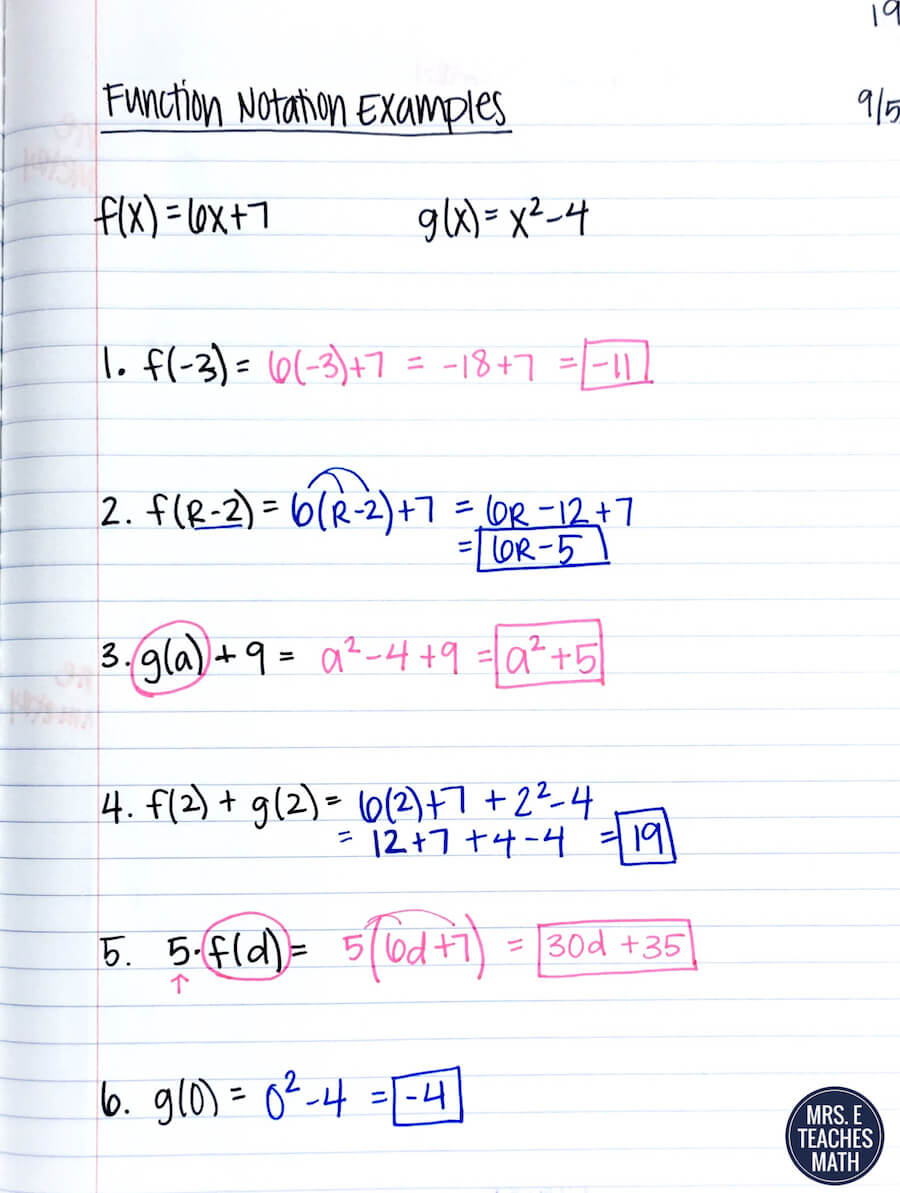 Mrs E Teaches Math – Function Notation Practice Worksheet