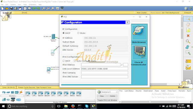 [Tutorial Cisco Packet Tracer 08] Final Konfigurasi Router dengan metode Routing Static dan DHCP server-anditii.web.id