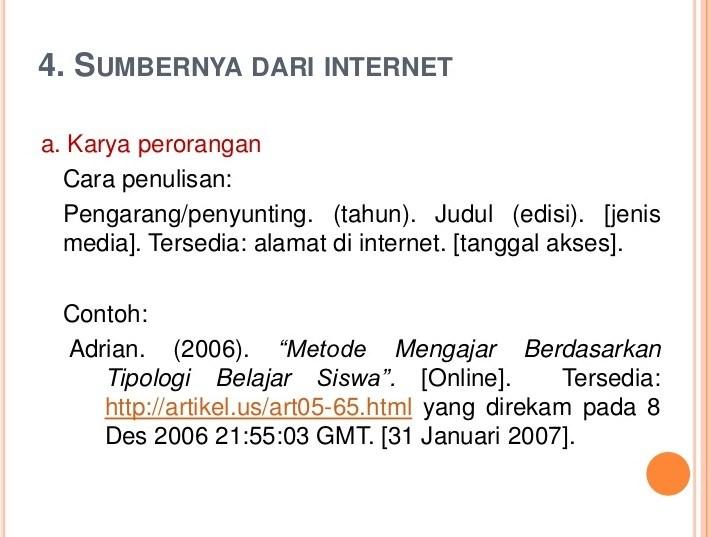 Menulis Daftar Pustaka Dari Internet