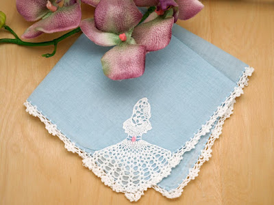Be my bridesmaid gift ideas bumblebee linens blue crochet lace hanky