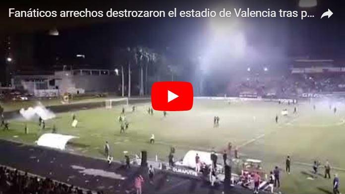 Fanáticos arrechos destrozaron el estadio de Valencia tras perder