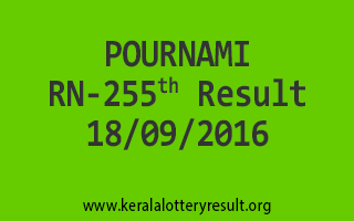 POURNAMI RN 255 Lottery Results 18-9-2016