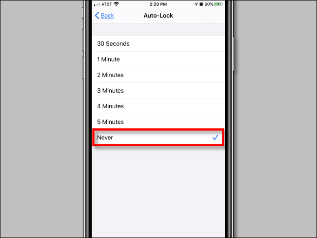 Selezione spegnimento schermo iPhone
