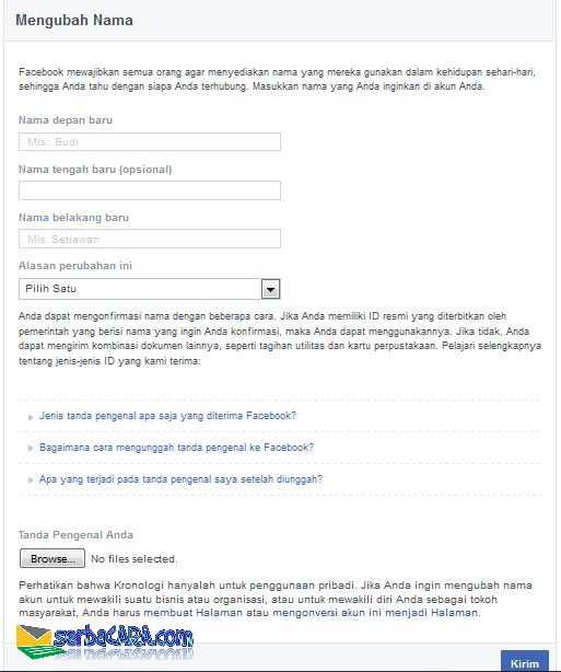 cara mengganti nama facebook yang sudah