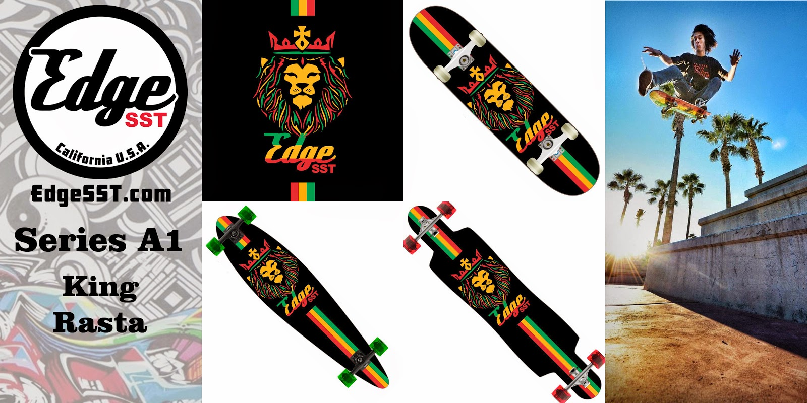 Edge SST Skateboard Series A1: King Rasta Skateboard