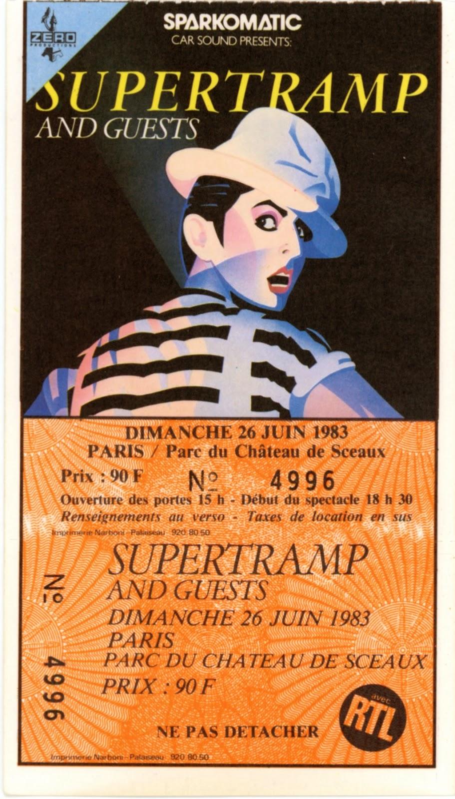 Anciens Billets De Concerts Old Concert Tickets