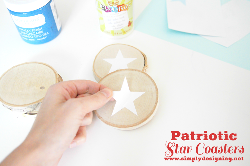 Patriotic Star Coasters | #patriotic #4thofJuly #crafts #chalkpaint