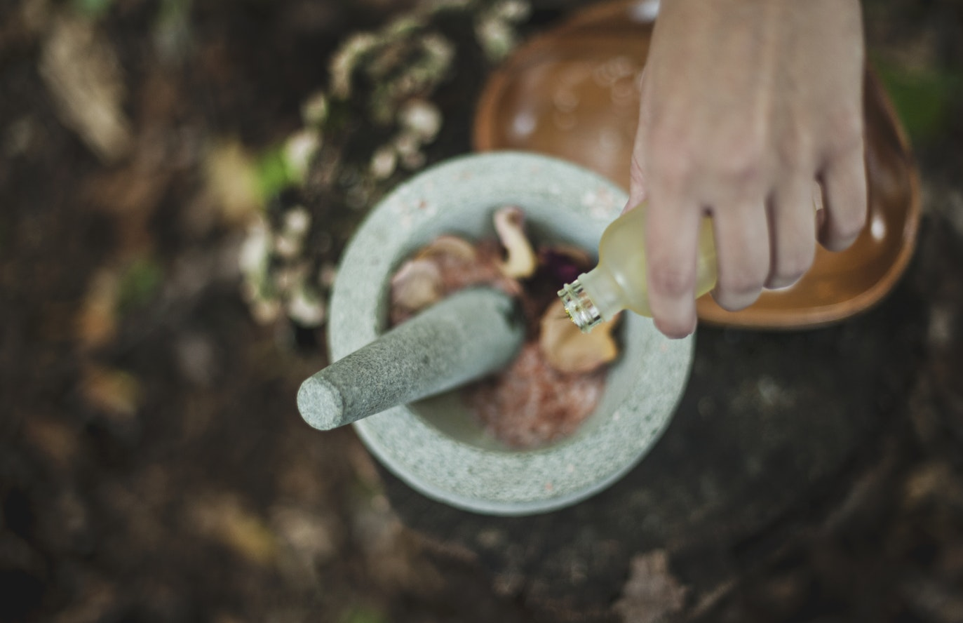 witchcrafting skin care and makeup products in pestle and mortar