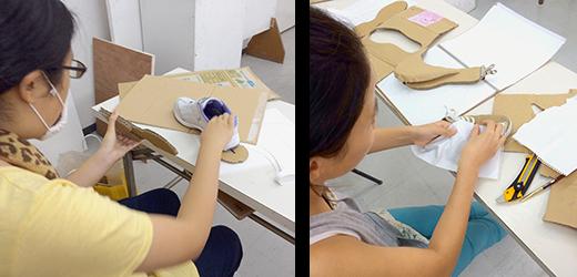 横浜美術学院の中学生教室 美術クラブ 「紙でつくる靴」パーツの制作1