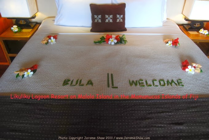 A welcoming sign on your bed  in the over-the-water bungalows at Likuliku Resort Fiji Islands. Copyright Jerome Shaw 2011 / www.JeromeShaw.com