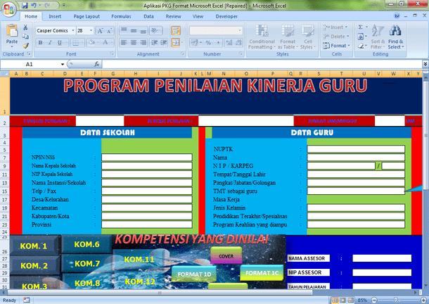 Aplikasi PKG (Penilaian Kinerja Guru) Format Microsoft Excel