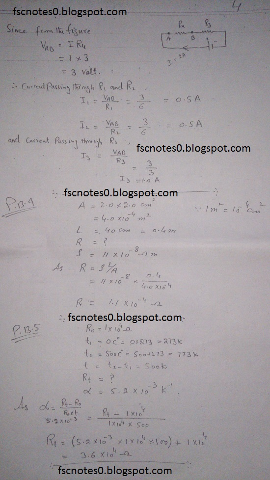 F.Sc ICS Notes: Physics XII: Chapter 13 Current Electricity Numerical Problems Asad Hussain 1