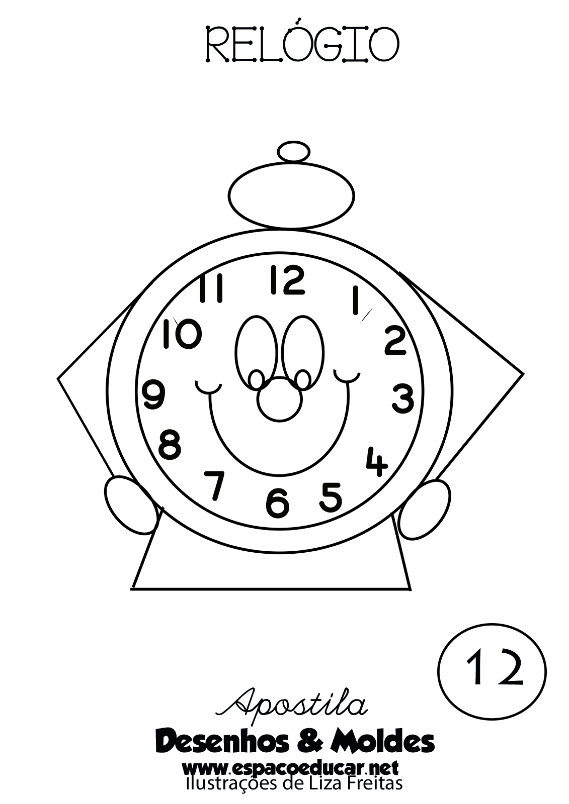 Desenho De Relogio Para Pintar Colorir Imprimir Espaco Educar