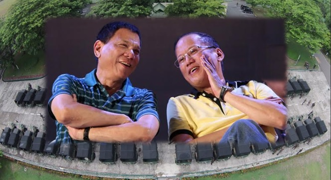President Benigno Aquino III (right) with incoming president Rodrigo Duterte.