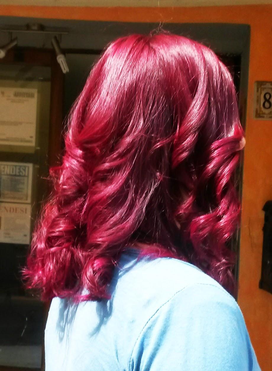 Eccezionale capelli donna con colore viola brillante e color block rame rosso  BS12