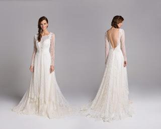 Vestido de noiva simples manga longa
