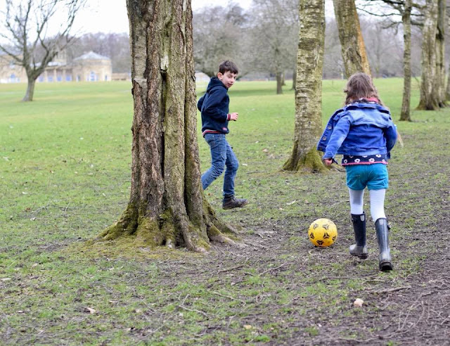 kids playing football in Heaton Park