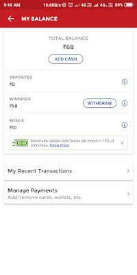 Withdraw cash from dream11