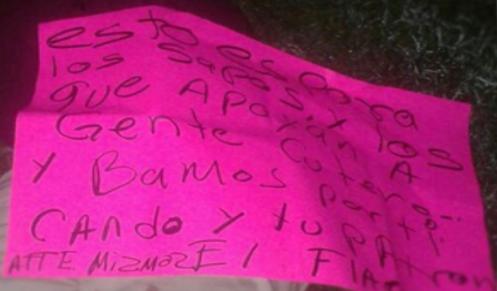 """TABASCO; Las """"Células de Avanzada"""" de Los Zetas dejan ejecutado con narcomensaje ATT: LOZ MIZMOZ"""