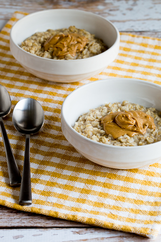 Quick and Easy Peanut Butter Oatmeal found on KalynsKitchen.com.