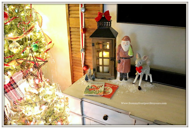 French Country Farmhouse -Christmas Mantel-Vintage Style-Santa Claus-Christmas Books-From My Front Porch To Yours