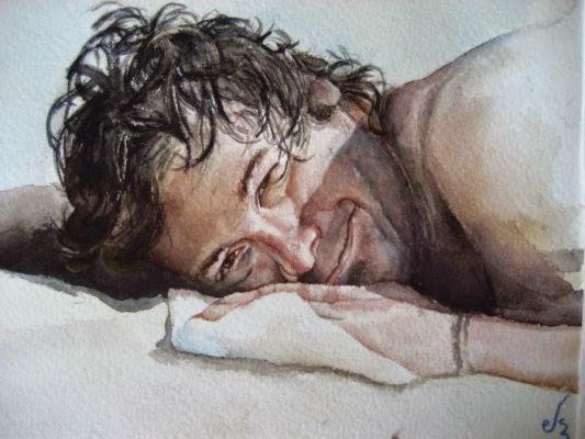 Retrato de chico tumbado en acuarela