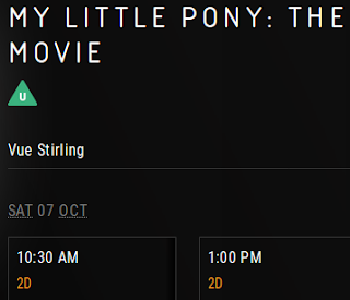 Screenshot showing the Vue Stirling cinema listing the MLP Movie for 7th Oct