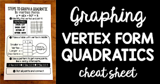 Are your Algebra 2 students struggling to graph quadratics in vertex form? This free math cheat sheet walks students through the steps for graphing vertex form quadratics.