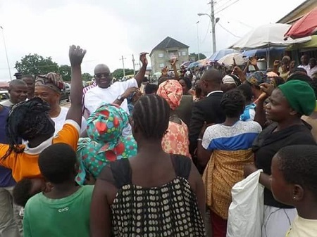 Wow! See What Ekiti State Residents Did When they Saw Gov Fayose Walking on the Street (Photos)