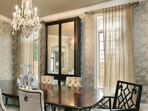 簡單的單開經典窗紗布窗簾用於奢華風餐廳