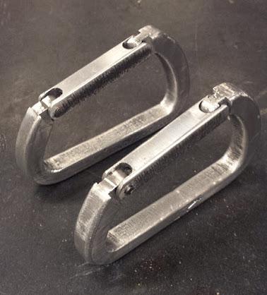 two aluminum custom carabiners