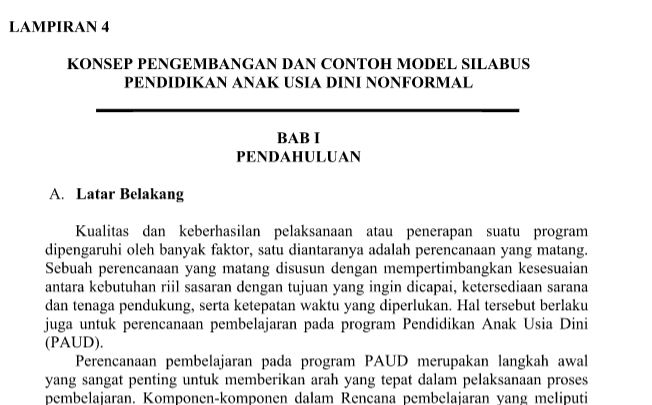 Download Silabus PAUD