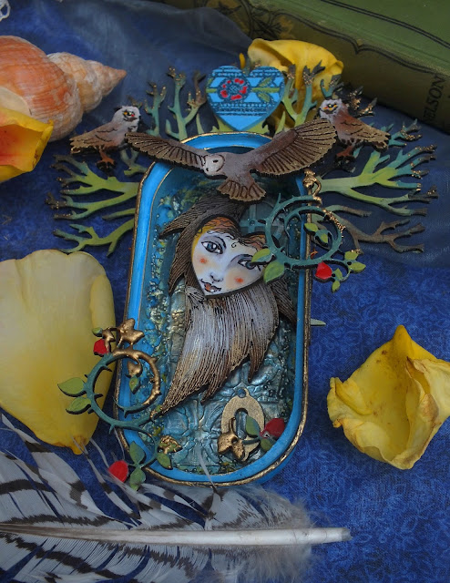 An Owl Princess - altered anchovy tin by Julie Ann