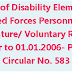 Grant of Disability Element to Armed Forces Personnel on Premature/ Voluntary Retired prior to 01.01.2006- PCDA Circular No. 583
