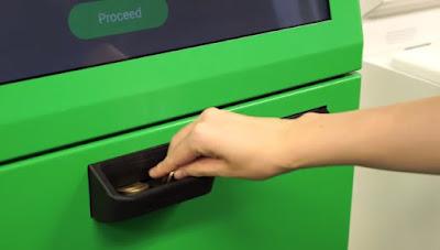 ポケットチェンジのキオスク端末でコインを投入